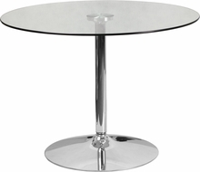 Facilities Restaurant Table Tops Restaurant Table Tops & Bases - Ch-8-gg - 39.25inch Round Glass Table With 29''h Chrome Base CH-8-GG