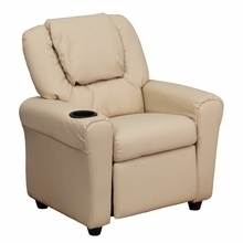 Facilities Recliners All Recliners - Dg-ult-kid-bge-gg - Contemporary Beige Vinyl Kids Recliner With Cup Holder And Headrest DG-ULT-KID-BGE-GG