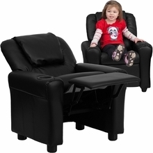 Facilities Recliners All Recliners - Dg-ult-kid-bk-gg - Contemporary Black Leather Kids Recliner With Cup Holder And Headrest DG-ULT-KID-BK-GG