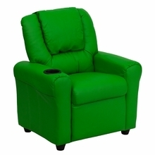 Facilities Recliners All Recliners - Dg-ult-kid-grn-gg - Contemporary Green Vinyl Kids Recliner With Cup Holder And Headrest DG-ULT-KID-GRN-GG