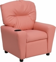 Contemporary Pink Vinyl Kids Recliner with Cup Holder BT-7950-KID-PINK-GG by Flash Furniture
