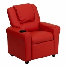 Facilities Recliners All Recliners - Dg-ult-kid-red-gg - Contemporary Red Vinyl Kids Recliner With Cup Holder And Headrest DG-ULT-KID-RED-GG