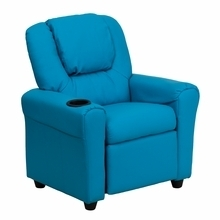 Facilities Recliners All Recliners - Dg-ult-kid-turq-gg - Contemporary Turquoise Vinyl Kids Recliner With Cup Holder And Headrest DG-ULT-KID-TURQ-GG