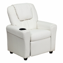 Facilities Recliners All Recliners - Dg-ult-kid-white-gg - Contemporary White Vinyl Kids Recliner With Cup Holder And Headrest DG-ULT-KID-WHITE-GG