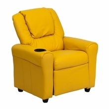 Facilities Recliners All Recliners - Dg-ult-kid-yel-gg - Contemporary Yellow Vinyl Kids Recliner With Cup Holder And Headrest DG-ULT-KID-YEL-GG