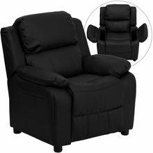 Deluxe Heavily Padded Contemporary Black Leather Kids Recliner with Storage Arms BT-7985-KID-BK-LEA-GG by Flash Furniture