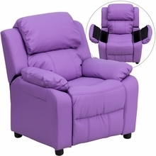 Deluxe Heavily Padded Contemporary Lavender Vinyl Kids Recliner with Storage Arms BT-7985-KID-LAV-GG by Flash Furniture