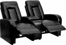 Eclipse Series 2-seat Push Button Motorized Reclining Black Leather Theater Seating Unit - Bt-70259-2-p-bk-gg - Recliners; Arm BT-70259-2-P-BK-GG