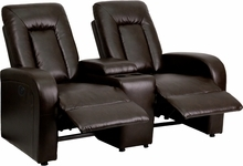 Flash Furniture 2 Seat Leather Reclining Home Theater Seating in Brown BT-70259-2-P-BRN-GG