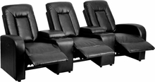 Eclipse Series 3-seat Push Button Motorized Reclining Black Leather Theater Seating Unit - Bt-70259-3-p-bk-gg - Recliners; Arm BT-70259-3-P-BK-GG
