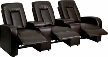 Eclipse Series 3-seat Push Button Motorized Reclining Brown Leather Theater Seating Unit - Bt-70259-3-p-brn-gg - Recliners; Arm BT-70259-3-P-BRN-GG