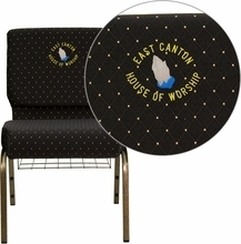 Embroidered Hercules Series 21''w Church Chair In Black Dot Patterned Fabric With - Fd-ch0221-4-gv-s0806-bas-emb-gg - Stack FD-CH0221-4-GV-S0806-BAS-EMB-GG
