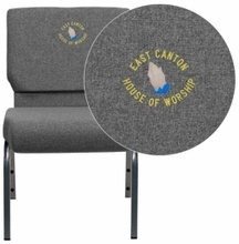 Facilities Stack Chairs Church Chairs - Xu-ch0221-gy-sv-emb-gg - Embroidered Hercules Series 21''w Stacking Church Chair In Gray Fabric - Silver XU-CH0221-GY-SV-EMB-GG