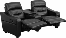 Futura Series 2-seat Reclining Black Leather Theater Seating Unit With Cup Holders - Bt-70380-2-bk-gg - Recliners; Arm BT-70380-2-BK-GG