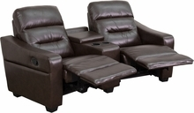 Futura Series 2-seat Reclining Brown Leather Theater Seating Unit With Cup Holders - Bt-70380-2-brn-gg - Recliners; Arm BT-70380-2-BRN-GG