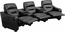 Flash Furniture 3 Seat Leather Reclining Home Theater Seating in Black BT-70380-3-BK-GG