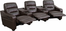 Flash Furniture 3 Seat Leather Reclining Home Theater Seating in Brown BT-70380-3-BRN-GG