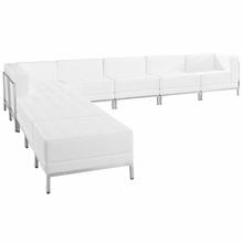 Flash Furniture Imagination 9 Piece Leather Sectional Set in White ZB-IMAG-SECT-SET11-WH-GG