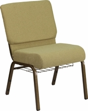 Hercules Series 21''w Church Chair In Moss Green Fabric With Cup Book - Fd-ch0221-4-gv-gn-bas-gg - Stack FD-CH0221-4-GV-GN-BAS-GG