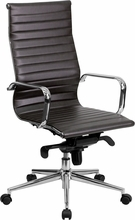 High Back Brown Ribbed Leather Executive Swivel Chair With Knee-tilt Control And - Bt-9826h-brn-gg - All Office BT-9826H-BRN-GG