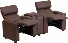Flash Furniture 2 Seat Leather Reclining Kids Theater Seating in Brown BT-70592-BN-LEA-GG