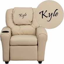 Personalized Beige Vinyl Kids Recliner With Cup Holder And Headrest - Dg-ult-kid-bge-txtemb-gg - Facilities Recliners All Recliners DG-ULT-KID-BGE-TXTEMB-GG