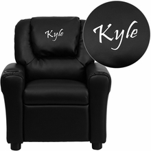 Personalized Black Leather Kids Recliner With Cup Holder And Headrest - Dg-ult-kid-bk-txtemb-gg - Facilities Recliners All Recliners DG-ULT-KID-BK-TXTEMB-GG