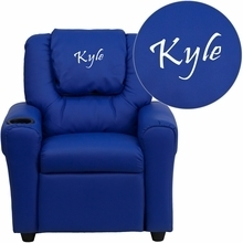 Personalized Blue Vinyl Kids Recliner With Cup Holder And Headrest - Dg-ult-kid-blue-emb-gg - Facilities Recliners All Recliners DG-ULT-KID-BLUE-EMB-GG
