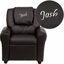 Personalized Brown Leather Kids Recliner With Cup Holder And Headrest - Dg-ult-kid-brn-txtemb-gg - Facilities Recliners All Recliners DG-ULT-KID-BRN-TXTEMB-GG