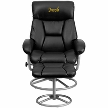 Flash Furniture BT-70230-BK-CIR-TXTEMB-GG Personalized Contemporary Black Leather Recliner and Ottoman with Metal Base