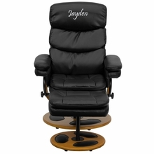 Personalized Contemporary Black Leather Recliner And Ottoman With Wood Base - Bt-7828-pillow-txtemb-gg - Recliners; Arm BT-7828-PILLOW-TXTEMB-GG
