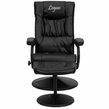 Personalized Contemporary Black Leather Recliner And Ottoman With Leather Wrapped Base - Bt-7862-bk-txtemb-gg - Recliners; Arm BT-7862-BK-TXTEMB-GG
