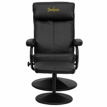 Personalized Contemporary Black Leather Recliner And Ottoman With Leather Wrapped Base - Bt-7863-bk-txtemb-gg - Recliners; Arm BT-7863-BK-TXTEMB-GG
