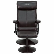 Personalized Contemporary Brown Leather Recliner And Ottoman With Leather Wrapped Base - Bt-7863-bn-txtemb-gg - Recliners; Arm BT-7863-BN-TXTEMB-GG
