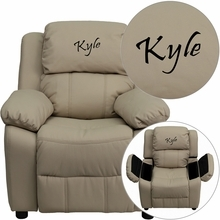 Personalized Deluxe Padded Beige Vinyl Kids Recliner With Storage Arms - Bt-7985-kid-bge-txtemb-gg - Recliners; Arm BT-7985-KID-BGE-TXTEMB-GG
