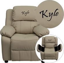 Flash Furniture BT-7985-KID-BGE-EMB-GG Personalized Deluxe Heavily Padded Beige Vinyl Kids Recliner with Storage Arms