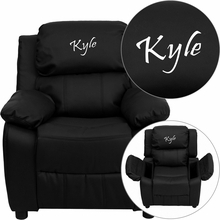 Flash Furniture BT-7985-KID-BK-LEA-EMB-GG Personalized Deluxe Heavily Padded Black Leather Kids Recliner with Storage Arms