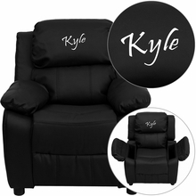 Personalized Deluxe Padded Black Leather Kids Recliner With Storage Arms - Bt-7985-kid-bk-lea-txtemb-gg - Recliners; Arm BT-7985-KID-BK-LEA-TXTEMB-GG