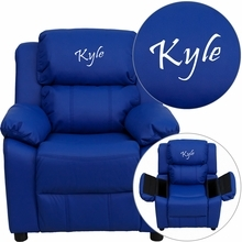 Personalized Deluxe Padded Blue Vinyl Kids Recliner With Storage Arms - Bt-7985-kid-blue-txtemb-gg - Recliners; Arm BT-7985-KID-BLUE-TXTEMB-GG