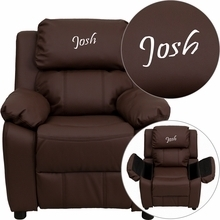 Flash Furniture BT-7985-KID-BRN-LEA-EMB-GG Personalized Deluxe Heavily Padded Brown Leather Kids Recliner with Storage Arms