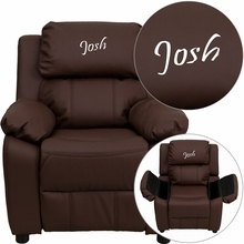 Personalized Deluxe Padded Brown Leather Kids Recliner With Storage Arms - Bt-7985-kid-brn-lea-txtemb-gg - Recliners; Arm BT-7985-KID-BRN-LEA-TXTEMB-GG