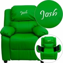 Flash Furniture BT-7985-KID-GRN-EMB-GG Personalized Deluxe Heavily Padded Green Vinyl Kids Recliner with Storage Arms