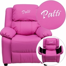 Personalized Deluxe Padded Hot Pink Vinyl Kids Recliner With Storage Arms - Bt-7985-kid-hot-pink-txtemb-gg - Recliners; Arm BT-7985-KID-HOT-PINK-TXTEMB-GG