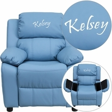 Personalized Deluxe Padded Light Blue Vinyl Kids Recliner With Storage Arms - Bt-7985-kid-ltblue-txtemb-gg - Recliners; Arm BT-7985-KID-LTBLUE-TXTEMB-GG