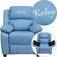 Flash Furniture BT-7985-KID-LTBLUE-EMB-GG Personalized Deluxe Heavily Padded Light Blue Vinyl Kids Recliner with Storage Arms & FREE Embroidery