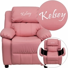 Personalized Deluxe Padded Pink Vinyl Kids Recliner With Storage Arms - Bt-7985-kid-pink-txtemb-gg - Recliners; Arm BT-7985-KID-PINK-TXTEMB-GG