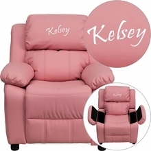 Flash Furniture BT-7985-KID-PINK-EMB-GG Personalized Deluxe Heavily Padded Pink Vinyl Kids Recliner with Storage Arms