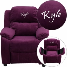 Personalized Deluxe Padded Purple Microfiber Kids Recliner With Storage Arms - Bt-7985-kid-mic-pur-txtemb-gg - Recliners; Arm BT-7985-KID-MIC-PUR-TXTEMB-GG