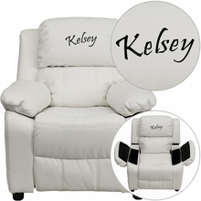 Personalized Deluxe Padded White Vinyl Kids Recliner With Storage Arms - Bt-7985-kid-white-txtemb-gg - Recliners; Arm BT-7985-KID-WHITE-TXTEMB-GG