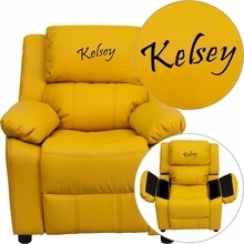 Flash Furniture BT-7985-KID-YEL-EMB-GG Personalized Deluxe Heavily Padded Yellow Vinyl Kids Recliner with Storage Arms